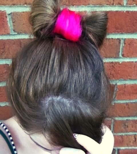 Dip Dyed ends + Hair Bow = center pink colored and loops natural color.
