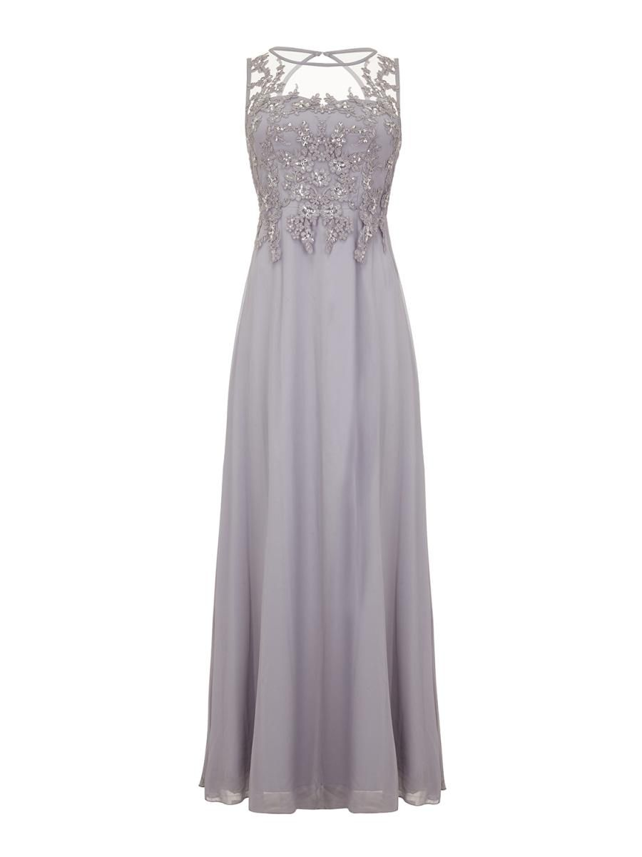 Grey Lace Sequin Maxi Dress - Quiz Clothing  5cce4b5c8b