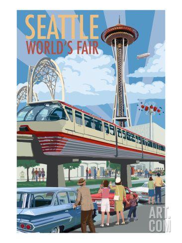 Space Needle Opening Day Scene - Seattle, WA Art Print by Lantern Press at Art.com