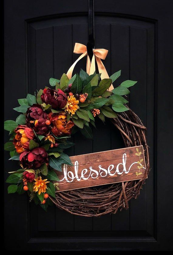 Photo of Peasant wreath, autumn wreaths for the front door, autumn wreaths, thanksgiving decor, peonies, housewarming gift, blessed sign, bestseller