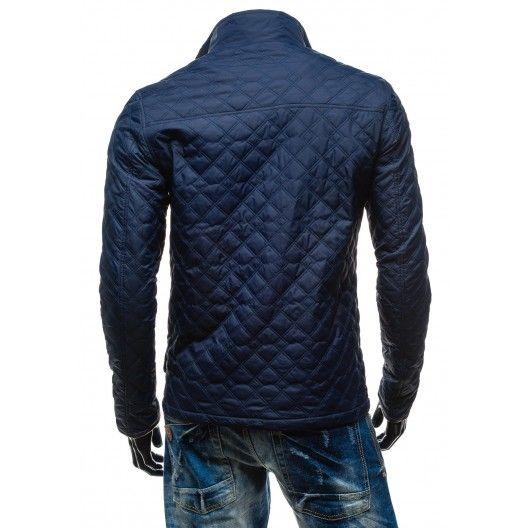 Pánske elegantné prešívané bundy tmavo modrej farby - fashionday.eu ... 473c858b5f8