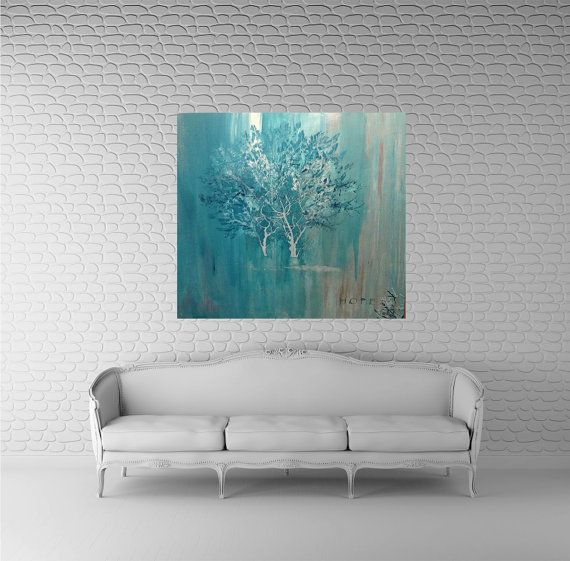 Abstract Tree. Original Abstract Painting. Art. Large.Abstract.Tiffany blue. Art. Modern Art. Contemporary. Acrylic. FREE SHIPPING.36x36