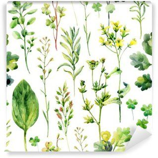 Watercolor meadow weeds and herbs seamless pattern Vinyl Wall Mural
