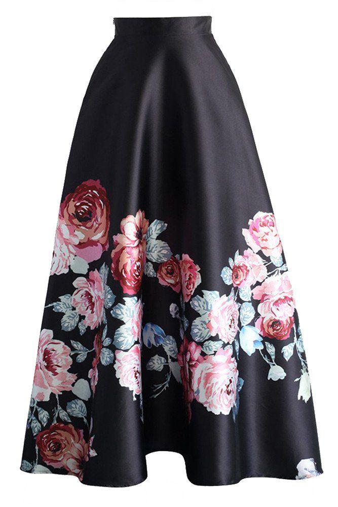 e6aba343b0bbaa Jupe Longue Noir Taille Haute Floraison Fleurie MB65017-3 – Modebuy ...