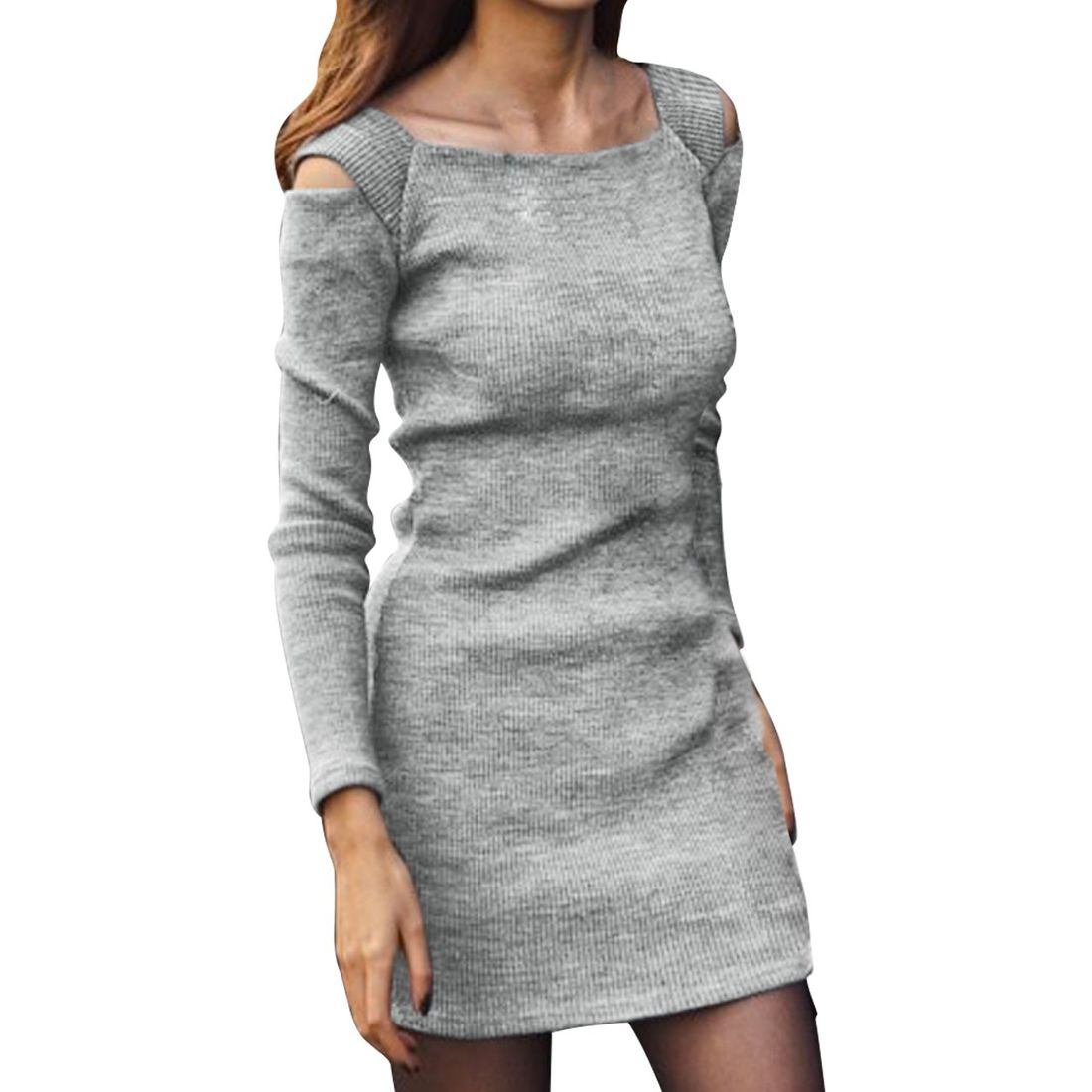 Click to buy ucuc saf new women square neck long sleeve cut out