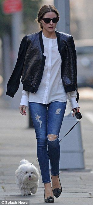 d57e0d79eb0 Olivia Palermo leaves Paris behind for a stroll with pooch Mr Butler ...