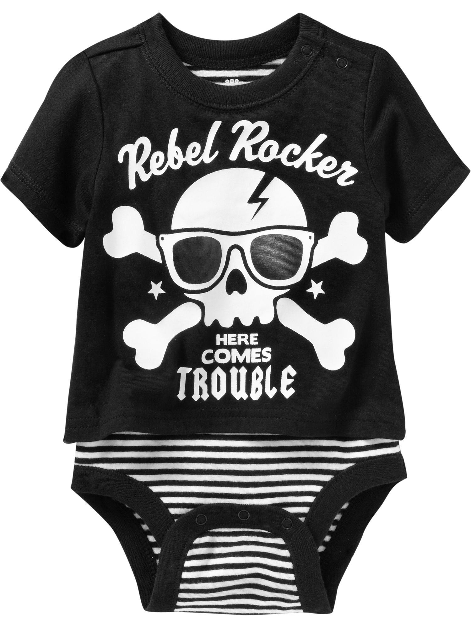 "Rebel Rocker"" Graphic Tee Bodysuits for Baby"
