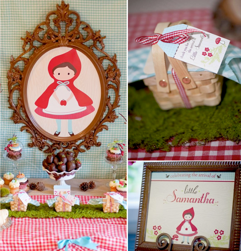 Kara S Party Ideas Retro Woodland 1st Birthday Party: Vintage Little Red Riding Hood Girl Baby Shower Planning