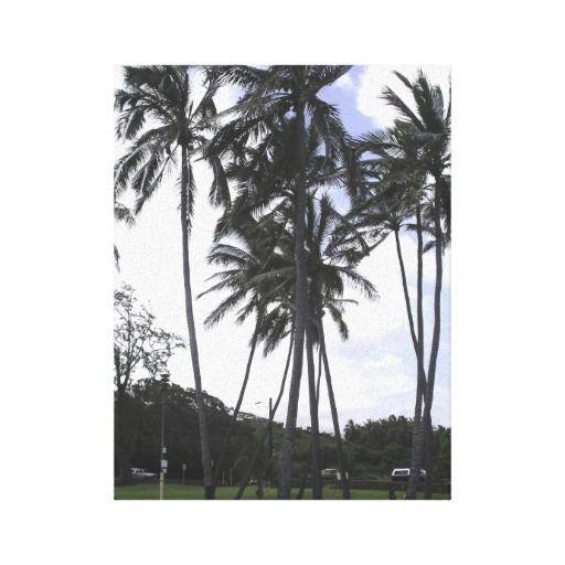 Palm Trees on a Windy Hawaiian Day Canvas Print