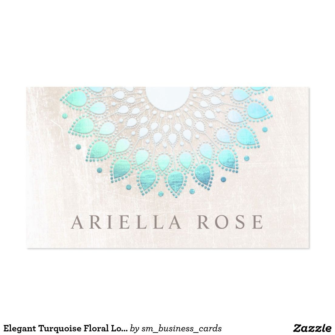 Elegant Turquoise Floral Lotus White Marble Business Card | Business ...