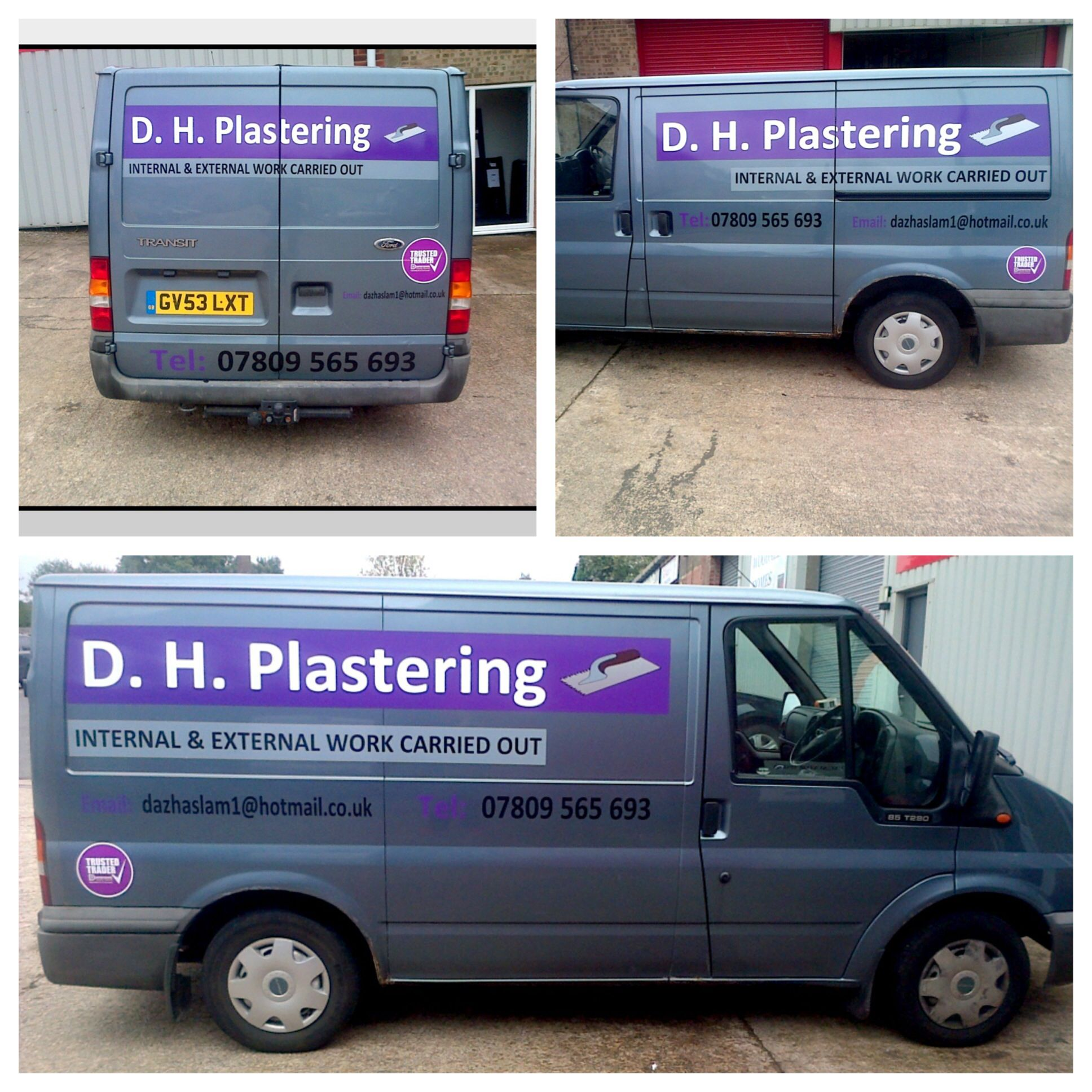 D h plastering ford transit vehicle van graphics for local chesterfield plastering company