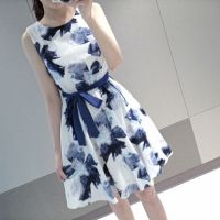 Wholesale Homecoming Dress New Women Fashion Ladies Sleeveless Ink Painting Flower Casual Cultural Dress With Waistband