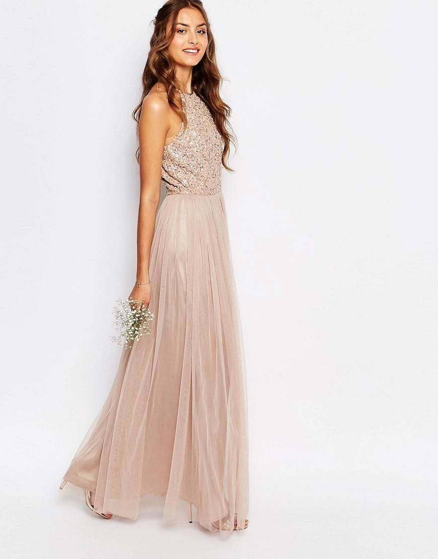Maya Tall High Neck Maxi Tulle Dress With Tonal Delicate Sequins ...