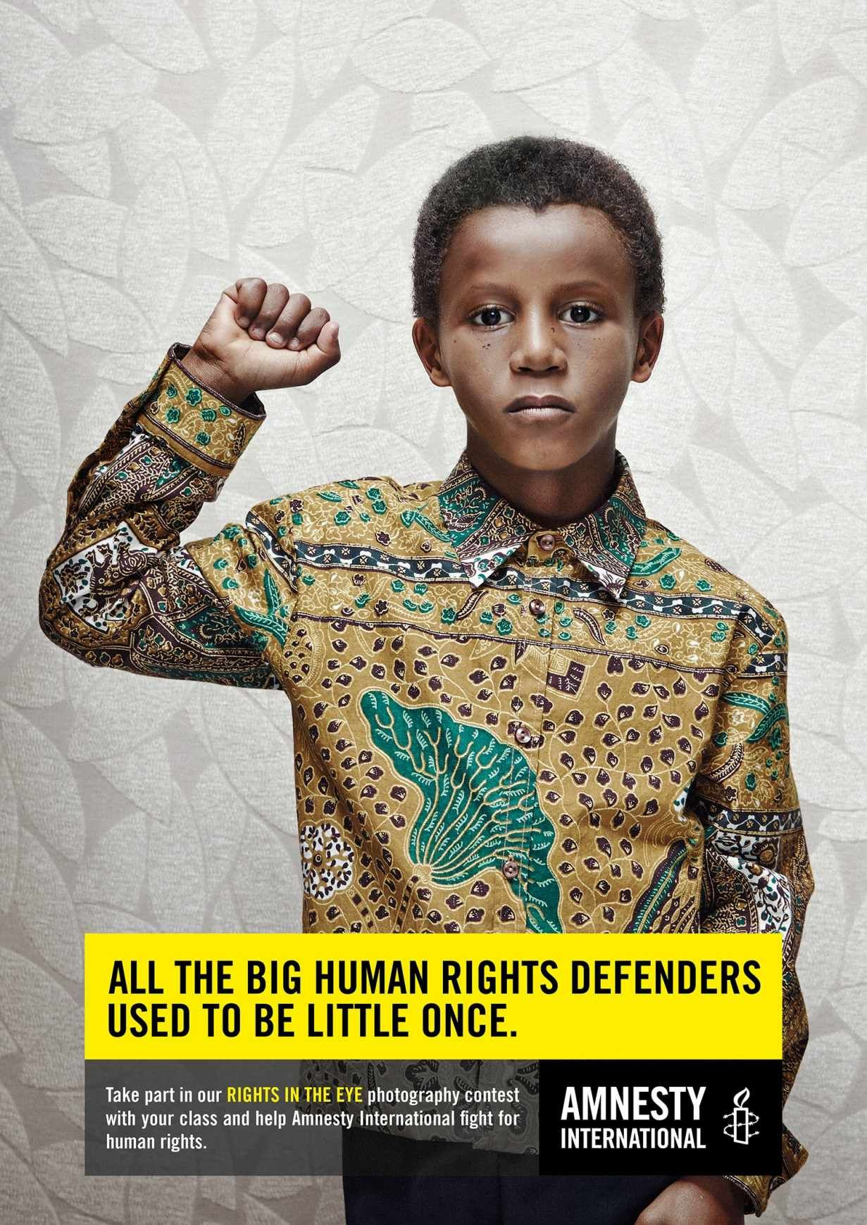 Amnesty International: Little Mandela All the big human rights defenders used to be little once. Advertising Agency: Air Brussels, Belgium