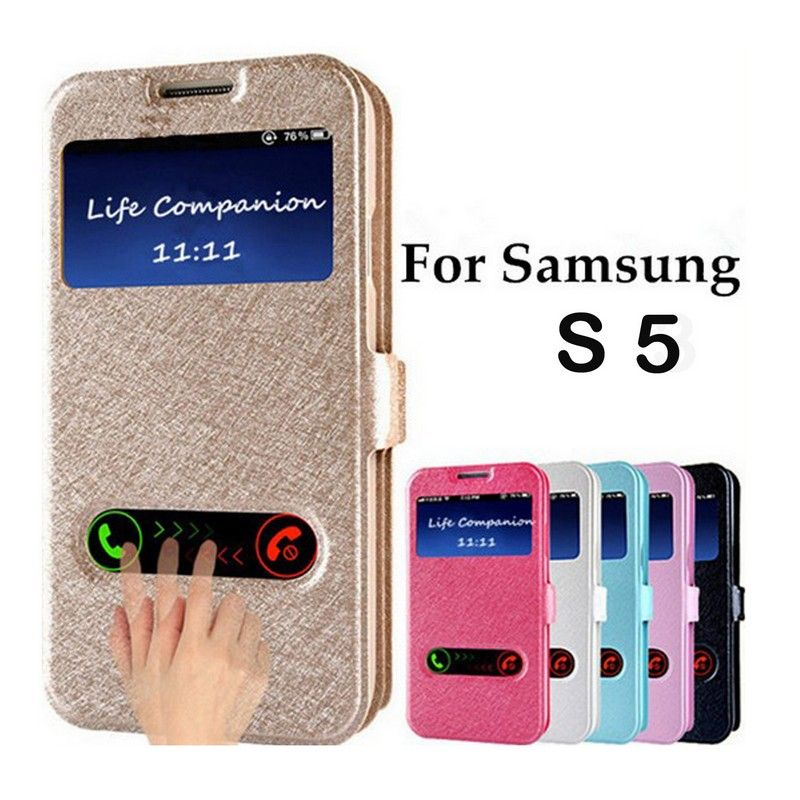Luxury Front Window View Leather Flip Case For samsung galaxy S5 ...