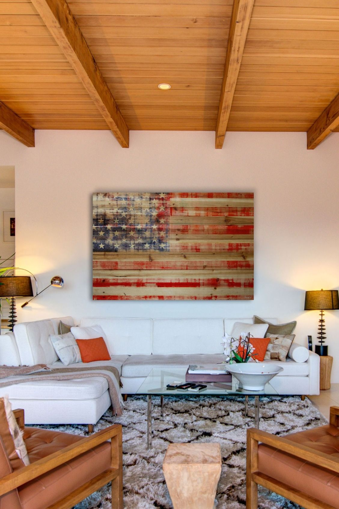 Marmont Hill Inc. American Flag Natural Pine Wood Wall Art