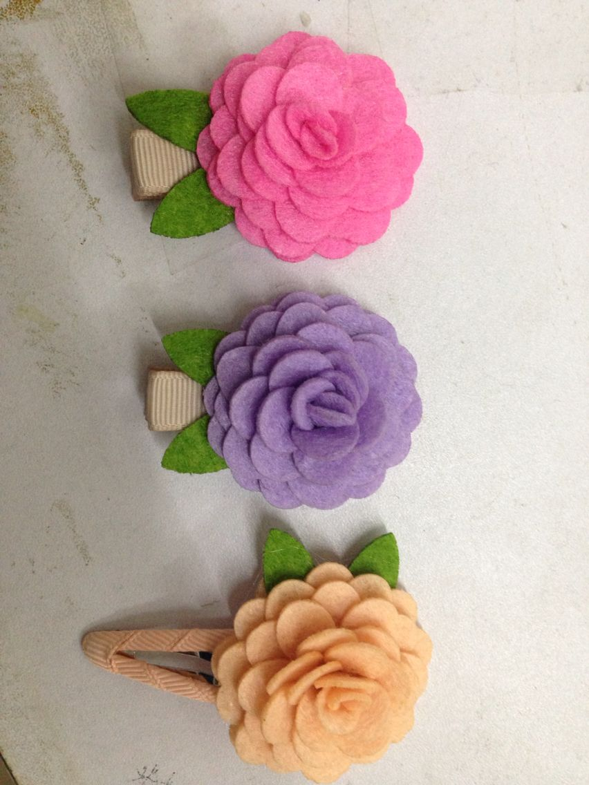 you will be the one you want to be, it seems like these felt flowers, let yourself beautiful, enjoy the free time#Hair accessories kids##boutique##snap clip##alligator#
