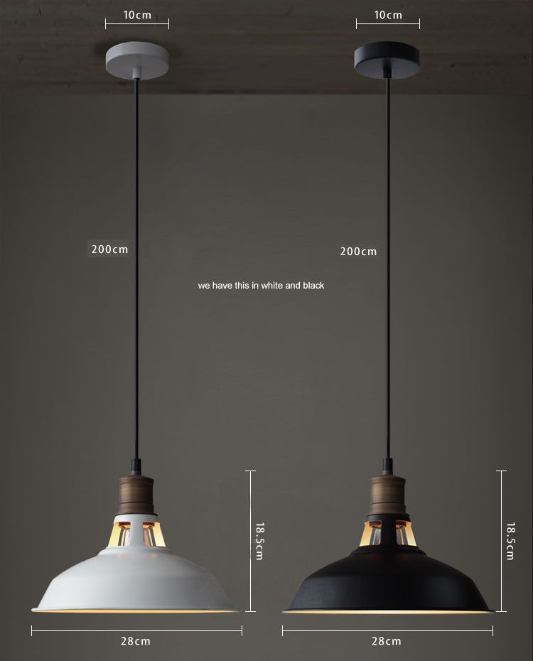 Duotone Vintage Industrial Pendant Light With Brass Fitting