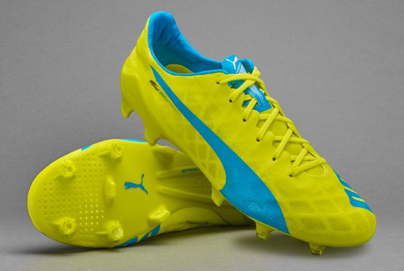Puma evoSPEED SL FG - Mens Shoes - Firm Ground - Safety Yellow/Atomic Blue/ White