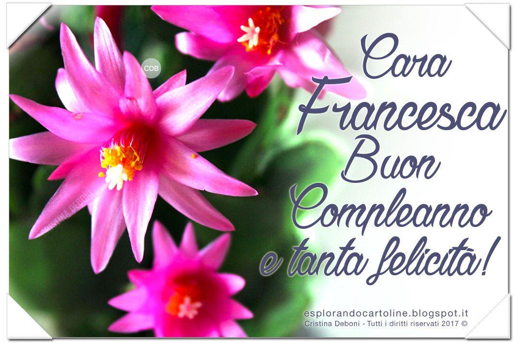 Cartolina Cara Francesca Buon Compleanno E Tanta Felicita