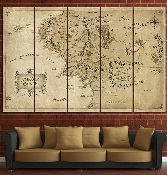 The Lord of the Rings Middle Earth wall decor Tolkien Map Canvas