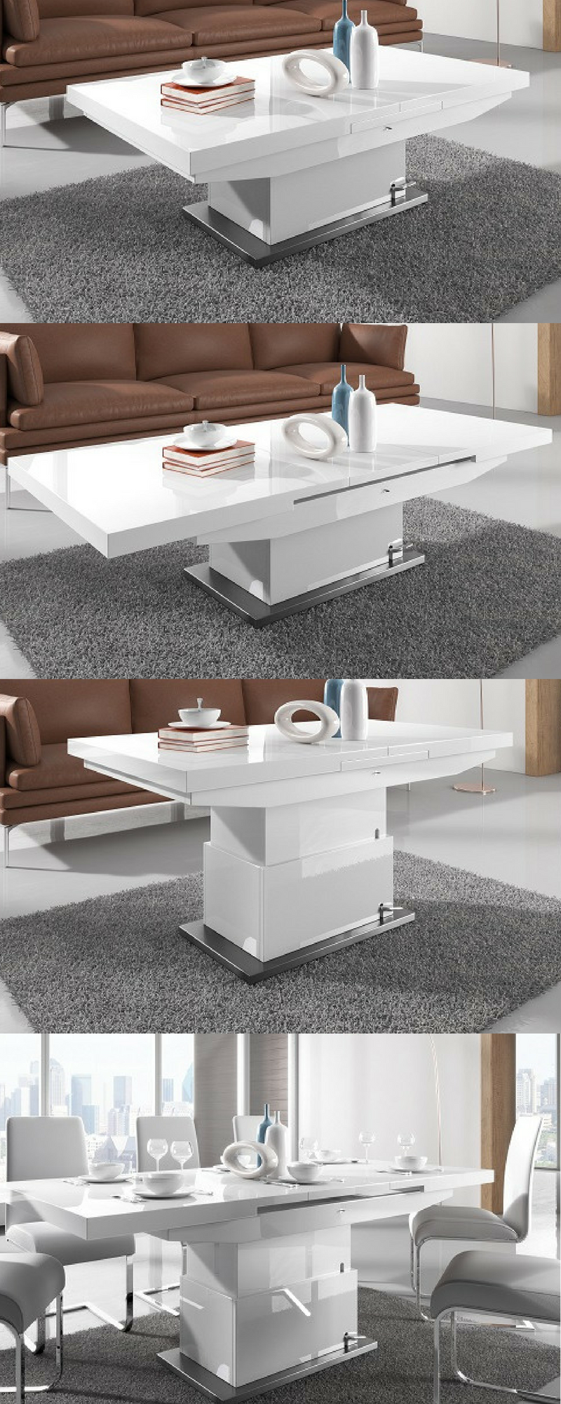 - Elgin Extendable Coffee Converting Dining Table In White Gloss In