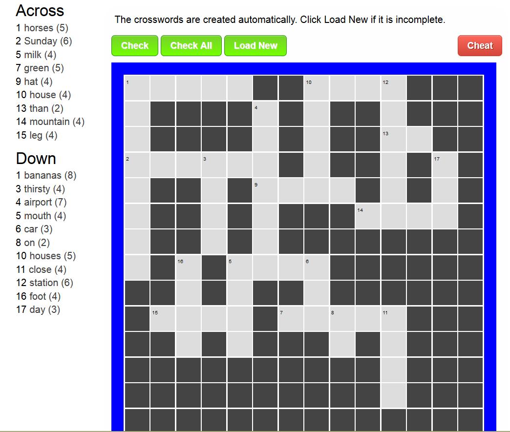 Afrikaans Crossword Puzzles