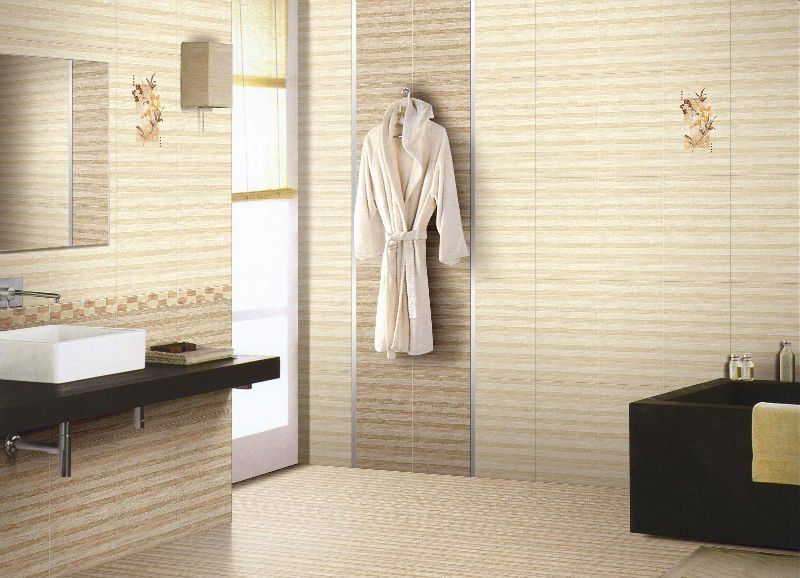 small bathroom tile ideas brown stripped tiles white wash basin cream bath suit black bath up - Bathroom Ideas Brown Cream