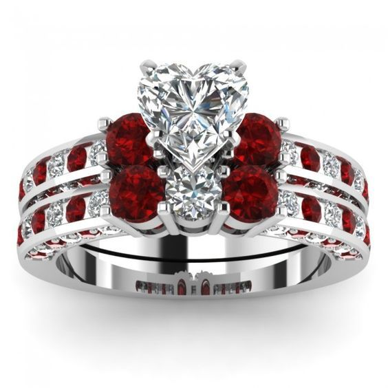 heart shaped diamond bridal wedding ring set with red ruby side stones - Ruby Wedding Ring Sets