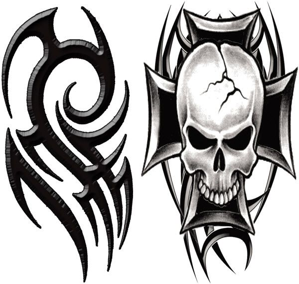 Macho Tribal Tattoo Temporarytattoo Skull T4aw Tattoos  Temporary