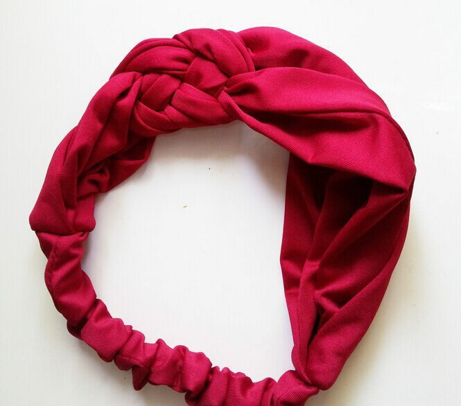 wholesale retail fashion solid color soft fabric knitting turban wide headband summer hair accessories