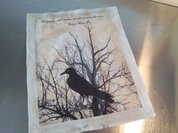 Fabric supplies Edgar Allan Poe art journal by iwathd09 on Etsy