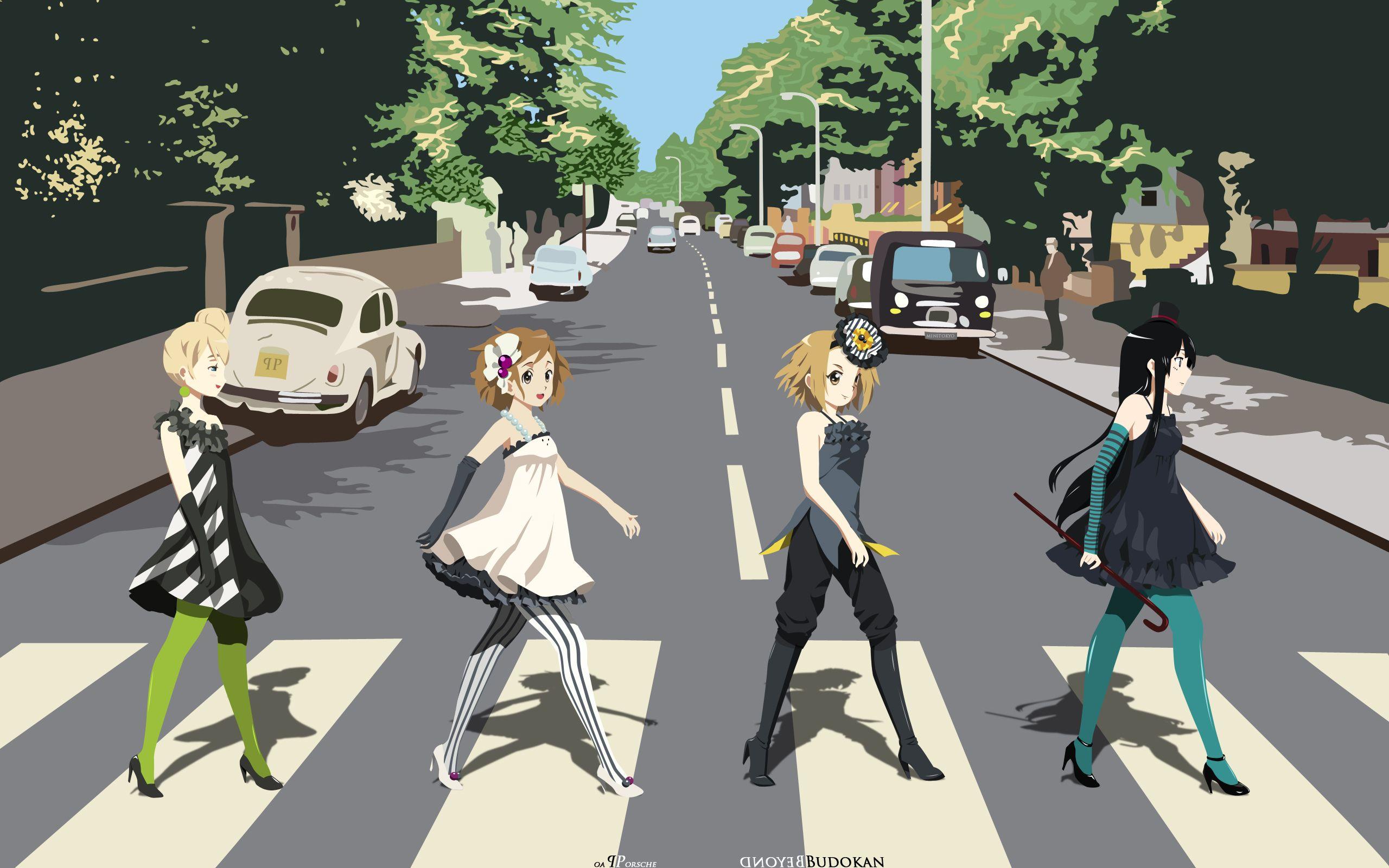 Abbey Road K ON Parody Hirasawa Yui Akiyama Mio Tainaka Ritsu Kotobuki Tsumugi Anime Striped Legwear