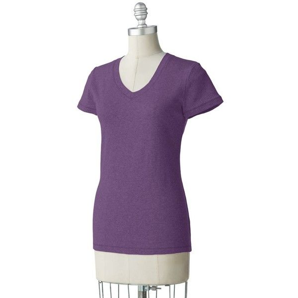 SONOMA life + style Tee ($7.99) ❤ liked on Polyvore featuring tops, t-shirts, purple t shirt, purple top and purple tee