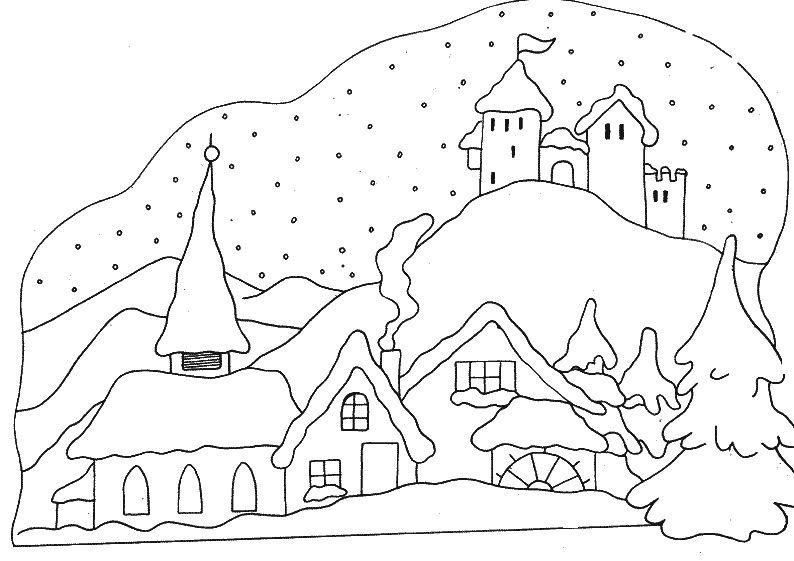 Village sous la neige coloriages hiver pinterest coloriage coloriage hiver et neige - Village de noel dessin ...