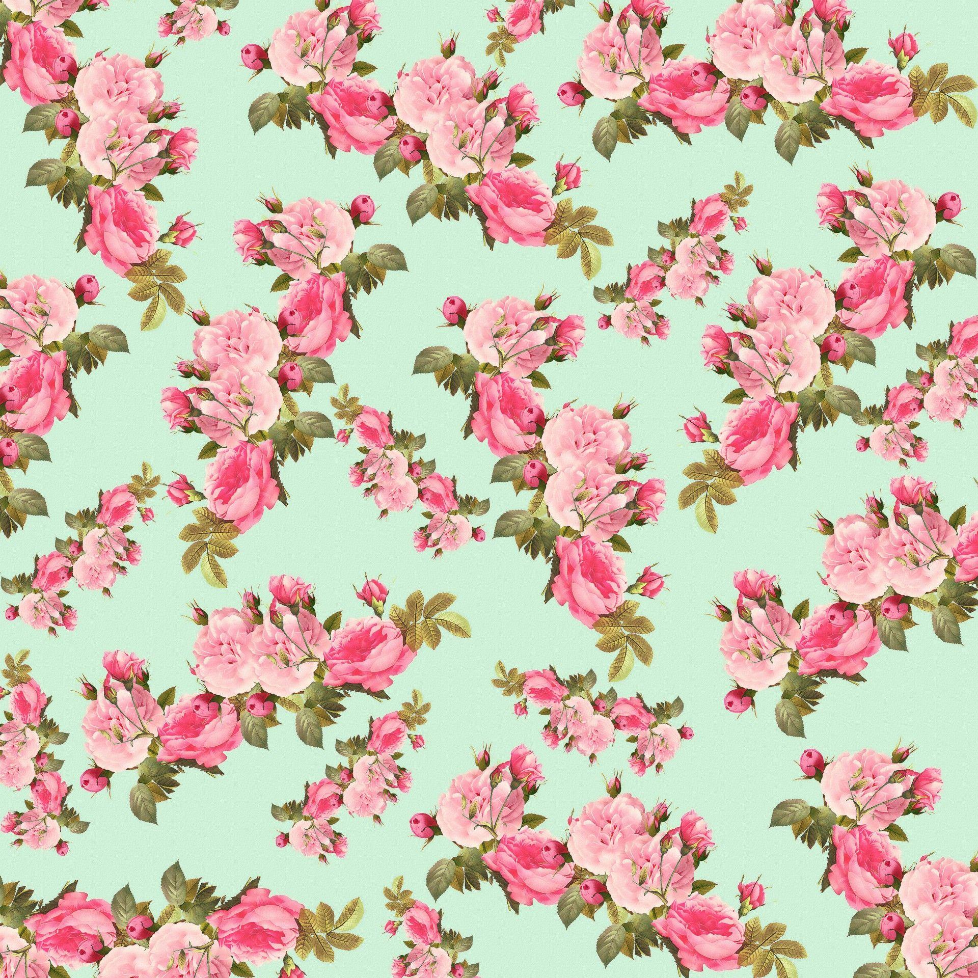 Floral vintage background - Teal With Pink Flowers Floral Backgrounds Vintage