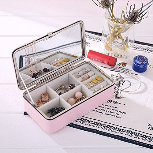 Jewelry Storage Box with Large Mirror Portable Travel Jewellery