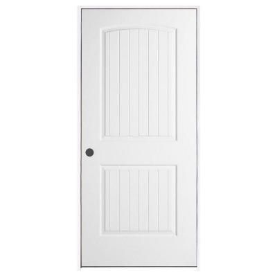 Jeld Wen Smooth 2 Panel Arch Top V Groove Primed Molded Prehung Interior Door Thdjw136700667 The Home Depot Prehung Interior Doors