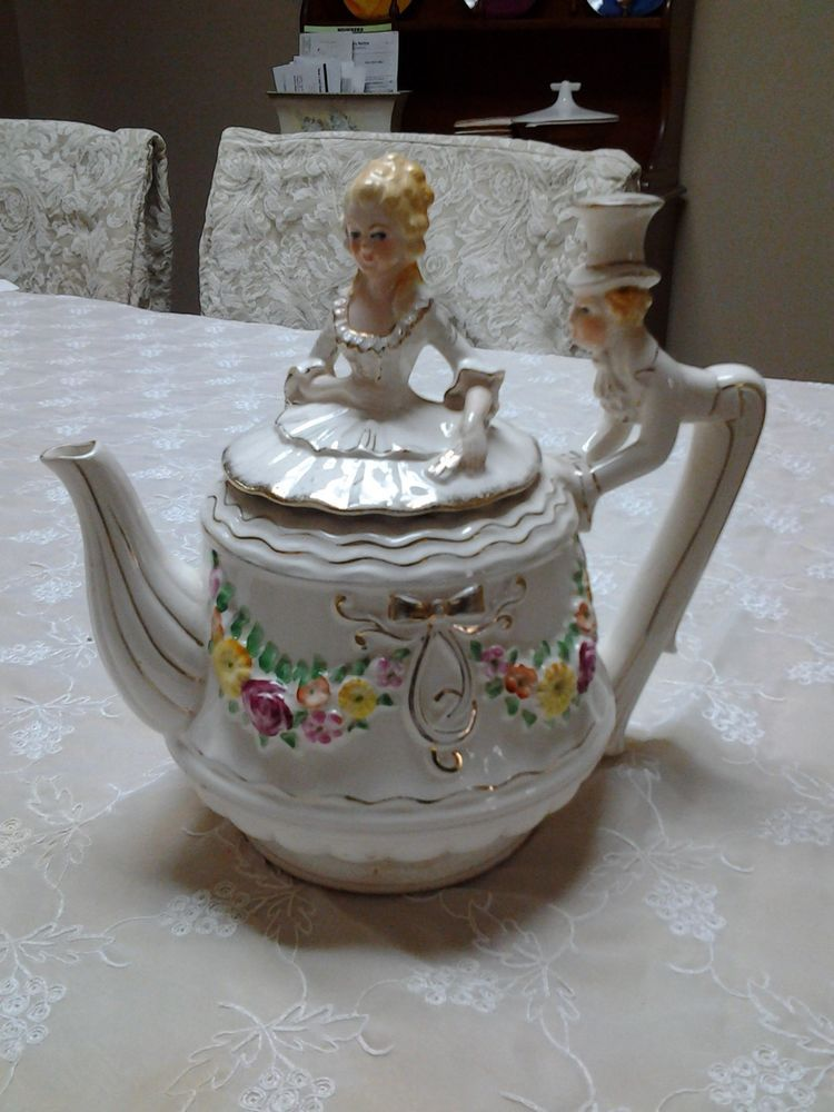 Victorian styled Dancing Couple Porcelain Teapot Tea Pot