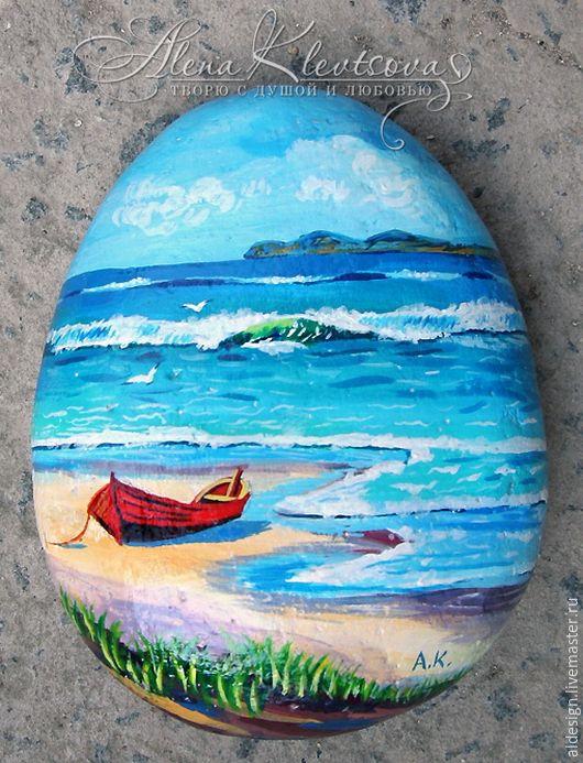 Купить Солнечный морской пейзаж на Крымском камне. - роспись по камню, натуральные камни, сувениры и подарки