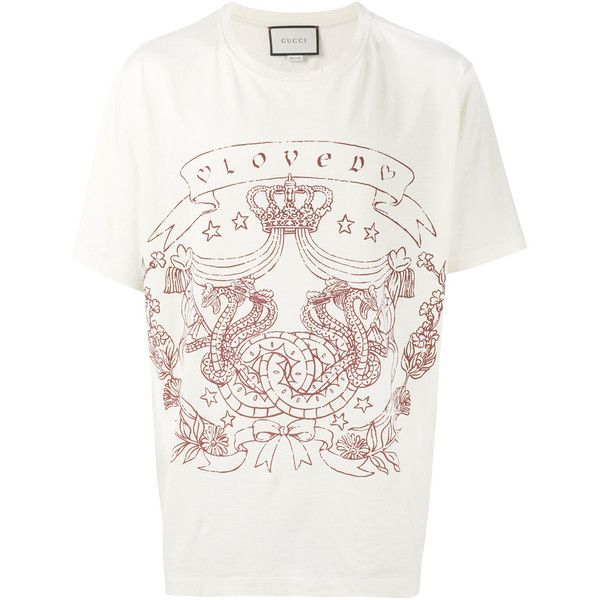 baed14b44 Gucci Loved slogan t-shirt ($520) ❤ liked on Polyvore featuring men's  fashion, men's clothing, men's shirts, men's t-shirts, white, mens wide  neck t shirts ...