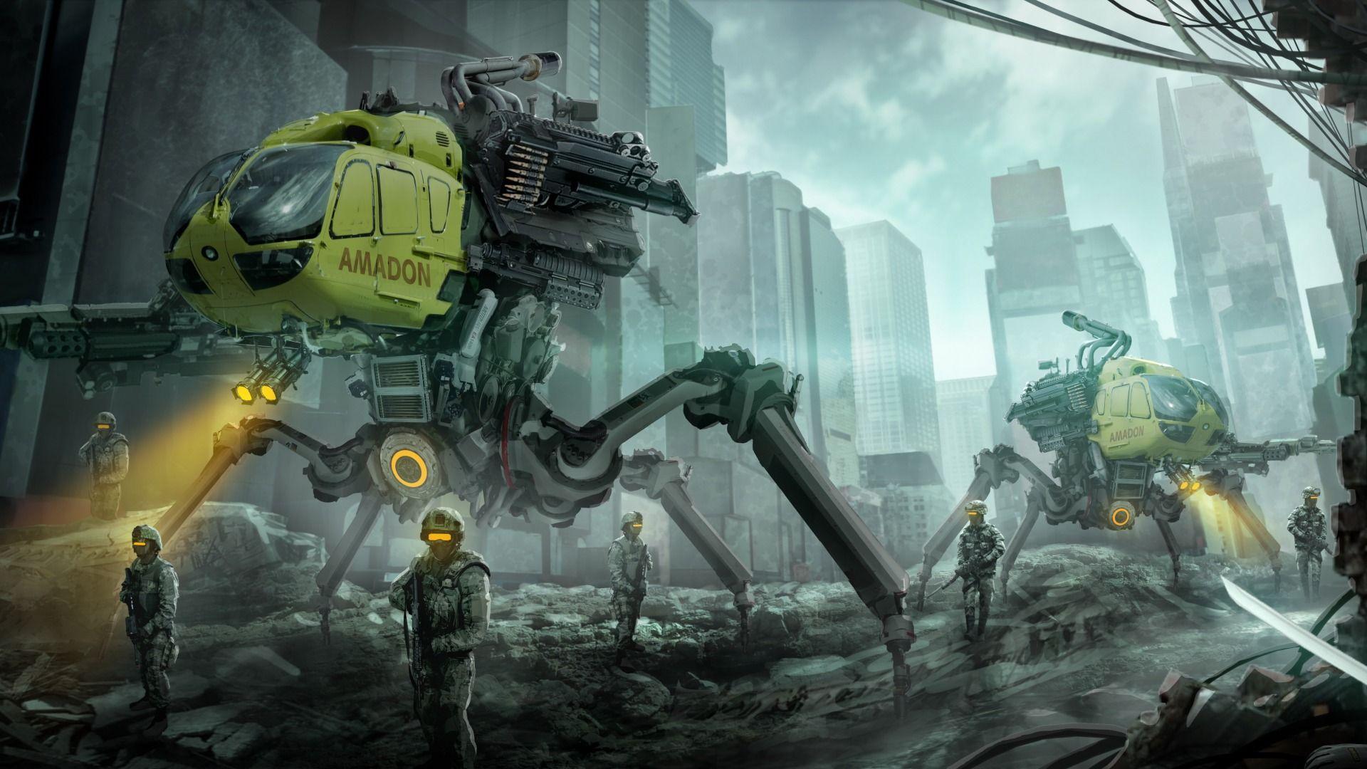 Download Wallpaper The City Soldiers Destruction Art Fantasy Fantasy Resolution 1920x1080 Sci Fi Art Sci Fi Wallpaper Art