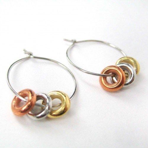 1 One Dollar Small Hoop Earrings Bronze Silver Gold