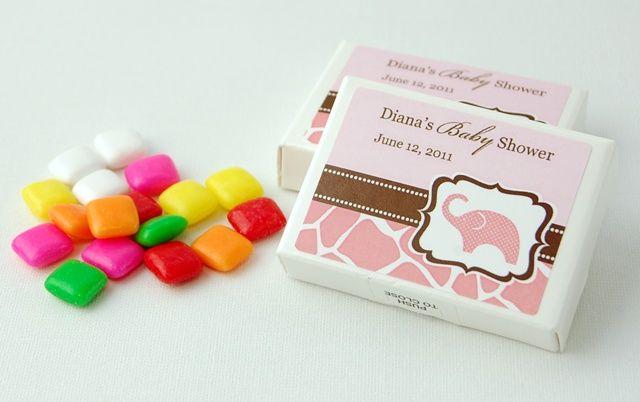 Wild Safari Pink personalized gum box favors