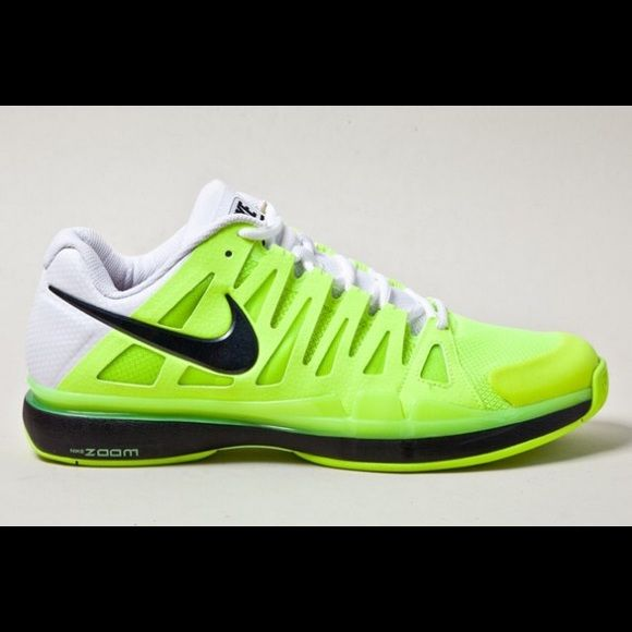 a11129d62da5 Nike Zoom w  Ortholite sneakers Nike Zoom Vapor 9 Tour high tech tennis  shoes in the color volt. A collaborative effort between Roger Federer    Nike s