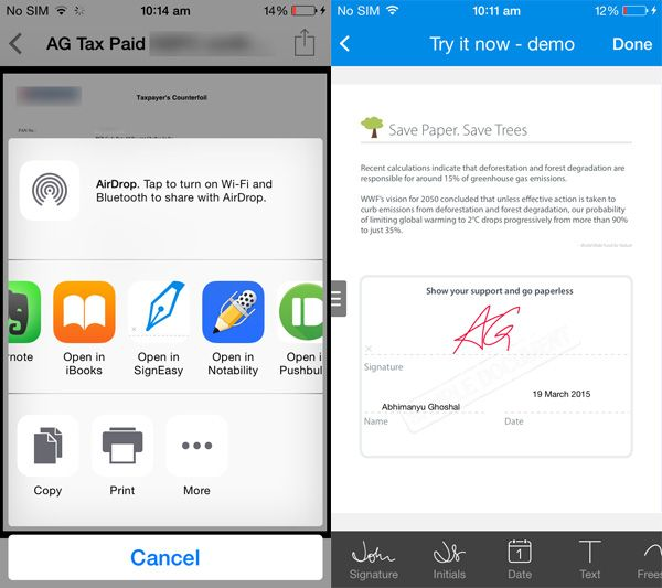 SignEasy's iOS extension lets you sign documents without