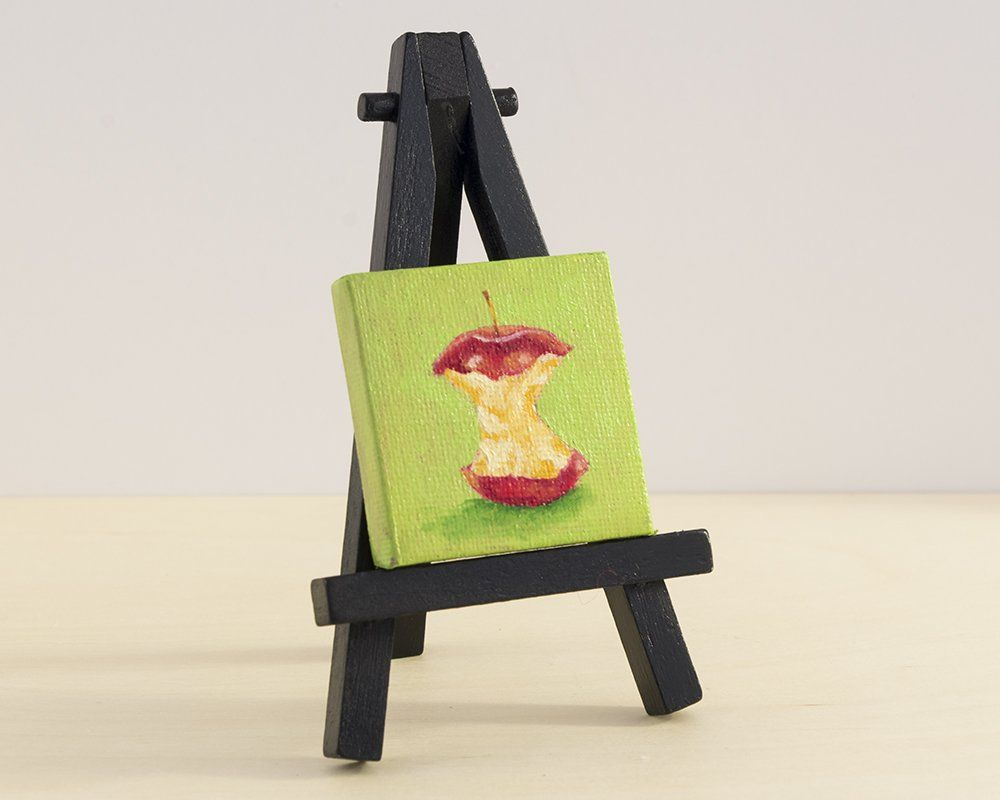 Apple Painting, Miniature Oil Painting with Easel, Fruit Still Life ...
