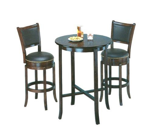 York Black Pub Table Set With 2 Leather Chairback Swivel Bar Stools   Http:/