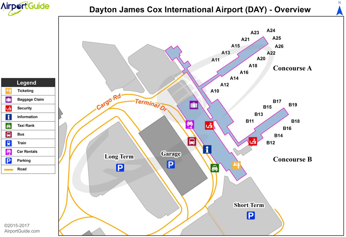 Dayton Airport Map Dayton   James M Cox Dayton International (DAY) Airport Terminal