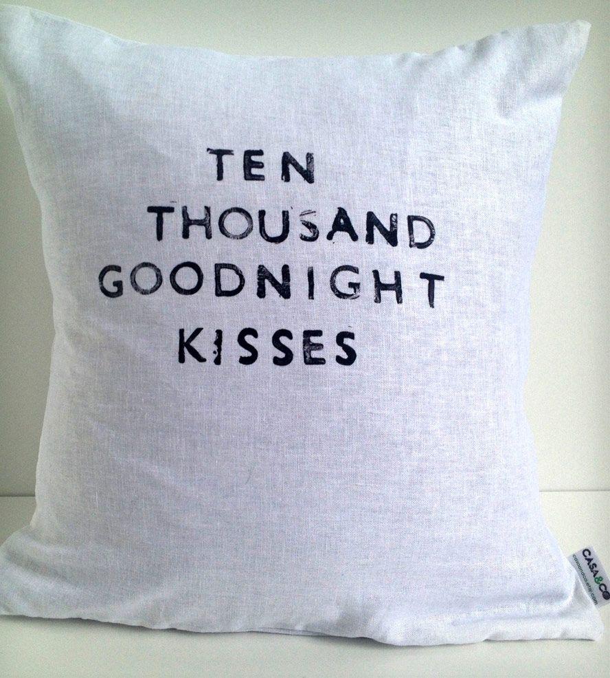 Quot Goodnight Kisses Quot Linen Pillow Cover Pillows Linen